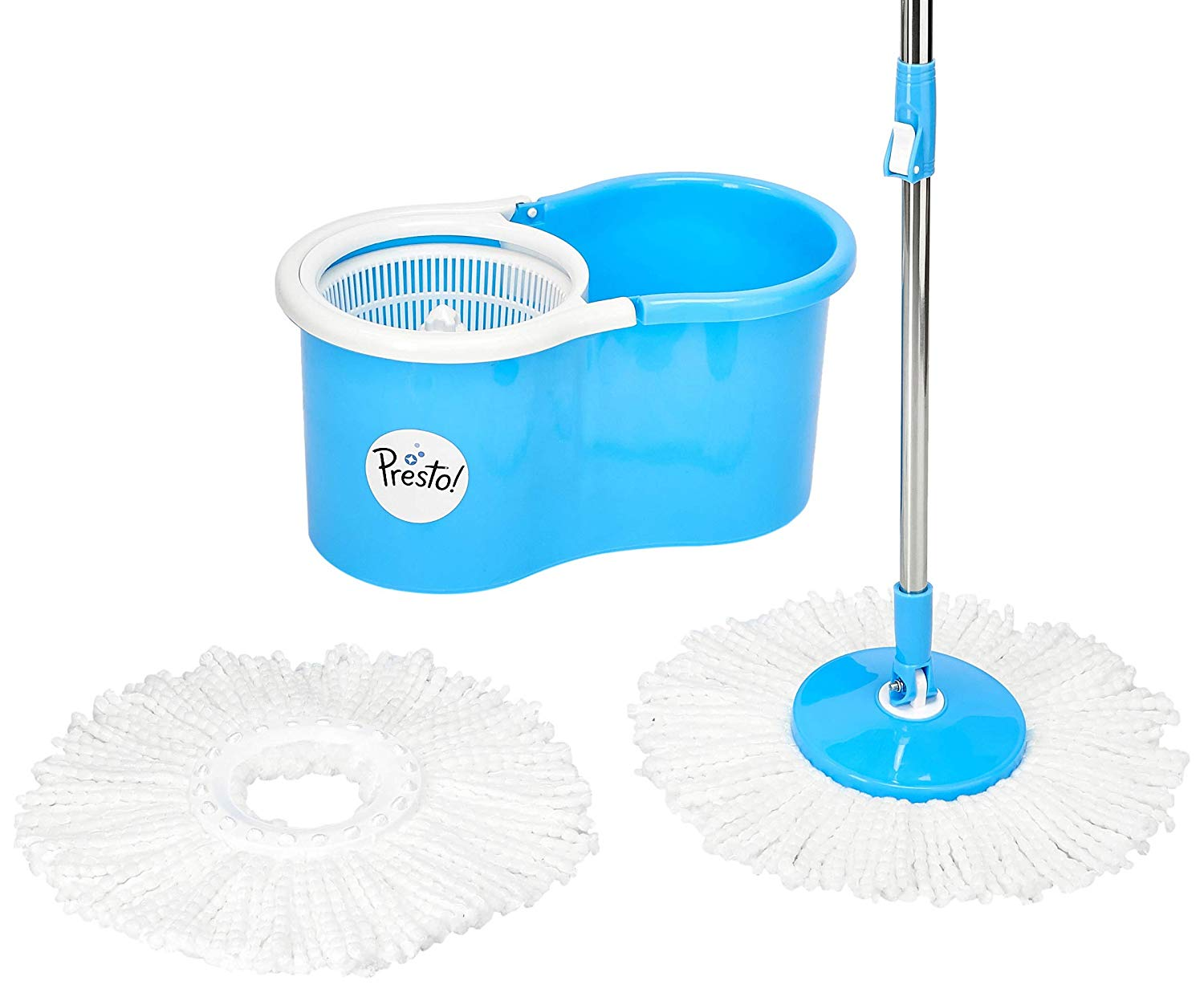 Amazon Brand - Presto! Spin Mop Set with Easy Wheels and Extra Mop Refill