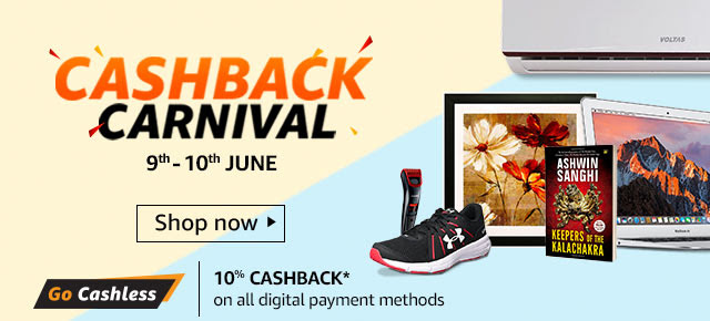 Amazon- Get Flat 10% cashback up to Rs 800 on Digital payments worth Rs 2000 and above