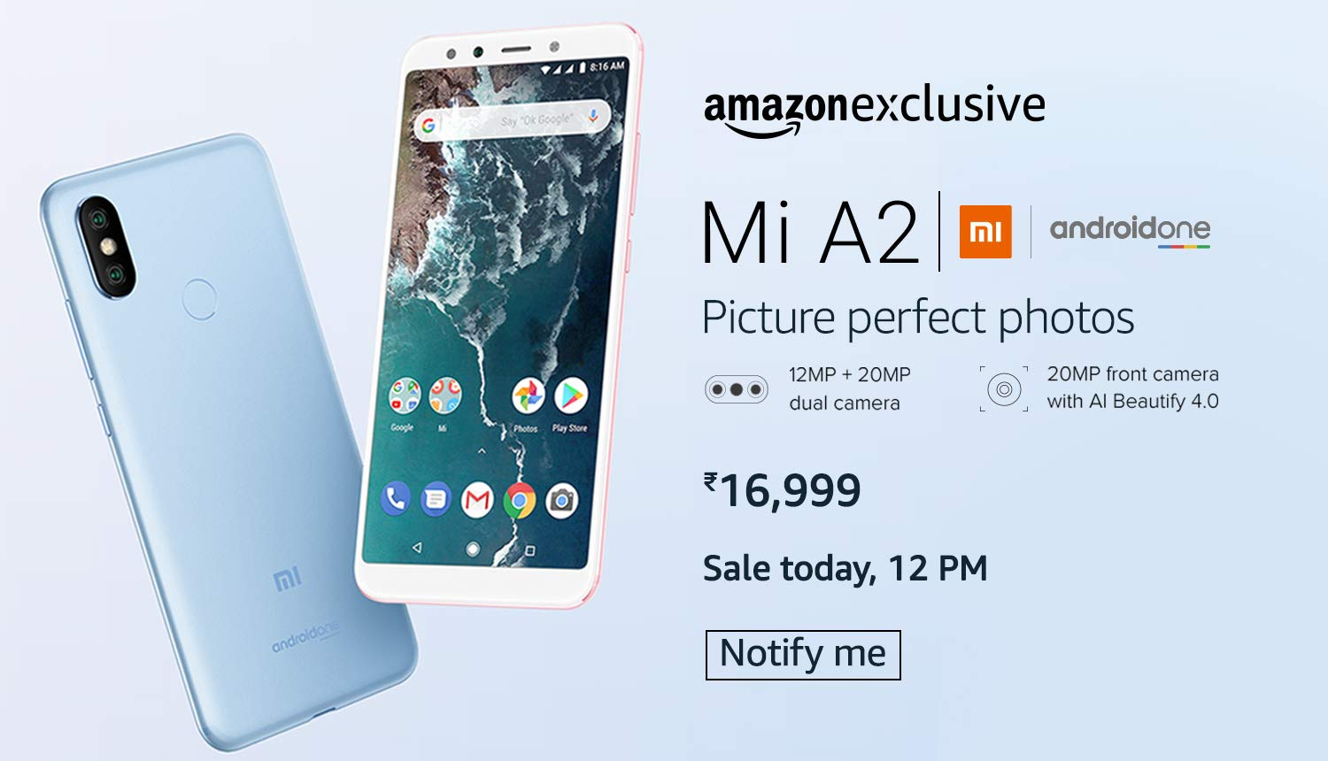 Amazon - Mi A2 Sale Today @ 12:00 PM