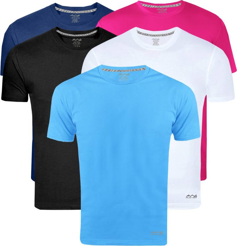 AWG Solid Men Round Neck Multicolor Pack of 5 T-Shirts