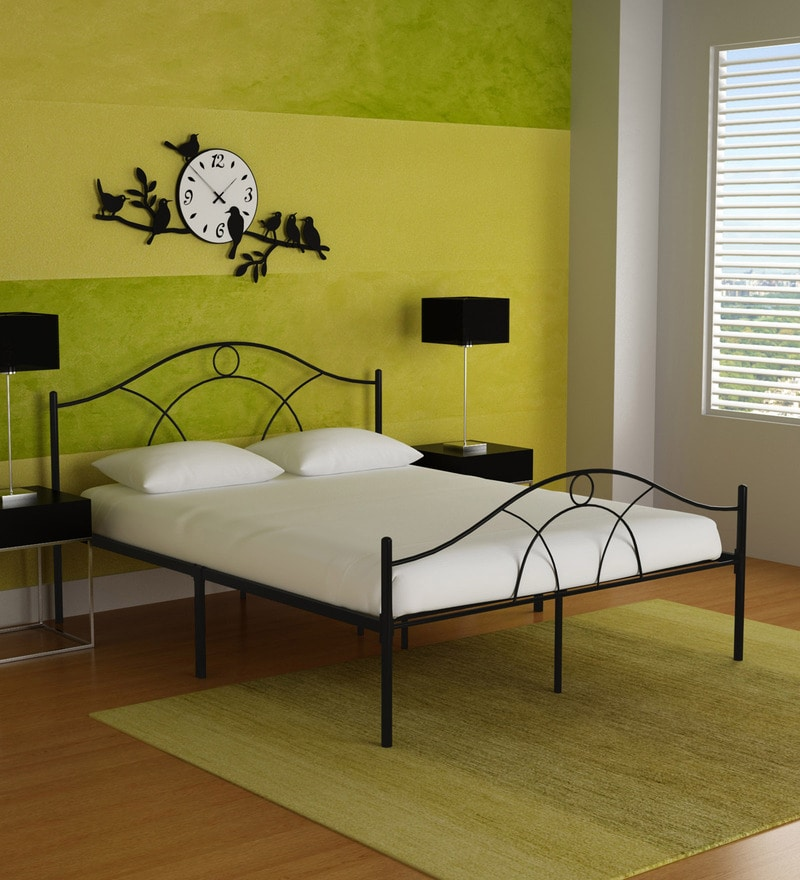 Bari Metallic Queen Size Bed in Black Finish by FurnitureKraft