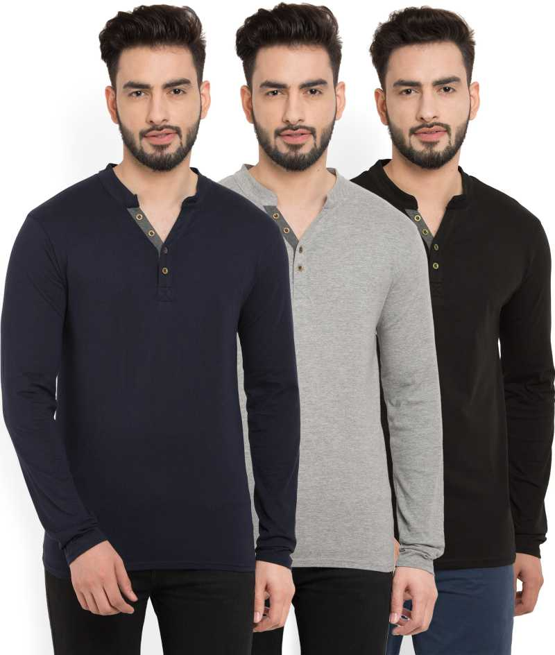 Billion PerfectFit Solid Men Henley Multicolor T-Shirt  (Pack of 3)