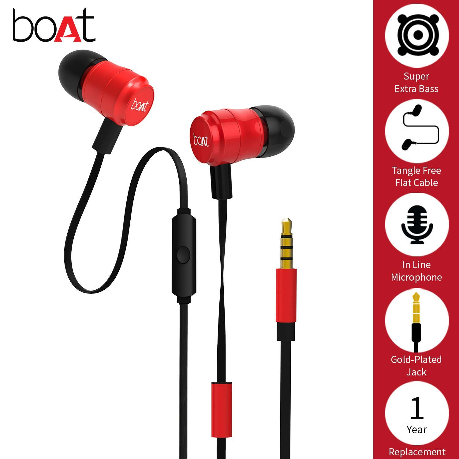 boAt BassHeads 235 In-Ear Extra Bass Earphones with Mic