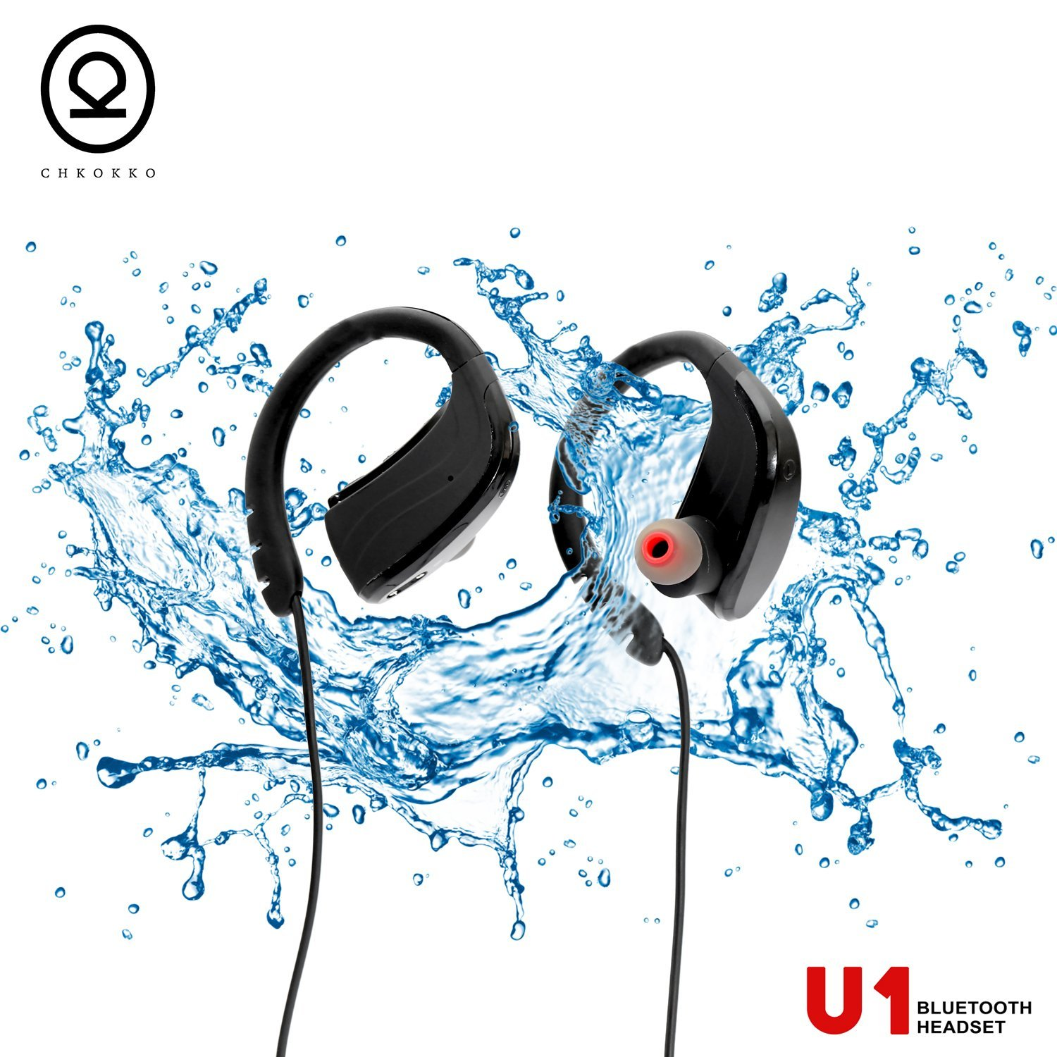 CHKOKKO U1 Bluetooth Headphones, Best Wireless Sports Earphones with Mic, IPX7 Waterproof Technology, HD Sound with Bass, Noise Cancelling, up to 8 hours working time