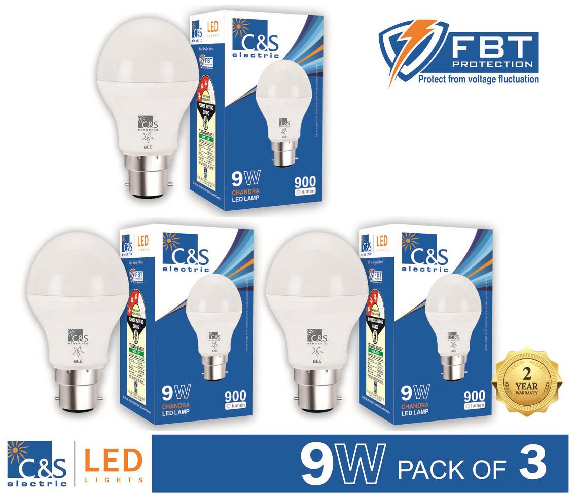 C&S Led 9 Watt B22 With 2 Years Manufacturer Warranty - Pack Of 3