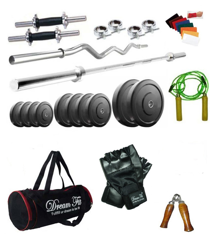 Dreamfit 40 Kg Home Gym Combo with Straight and Curl Rods, Dumbbell Rods, Gloves, Hand Grip, Skipping Rope and 4 Locks