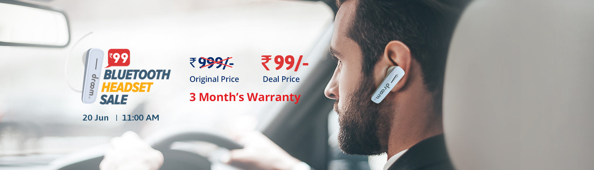 Droom Bluetooth headset sale on JUNE 20 @ 11AM