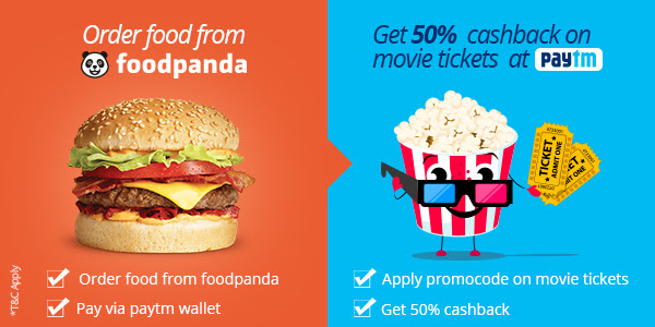 Foodpanda - Pay via Paytm Wallet to Get 50% Off Movie Voucher
