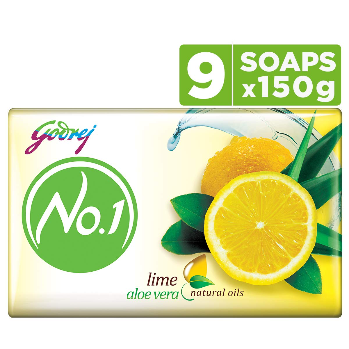 Godrej No.1 Bathing Soap – Sandal & Turmeric, 150g (Pack of 9)