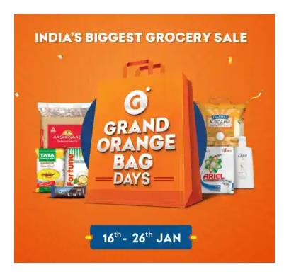 Grofers - Grand Orange Bag Days Sale 100% Inaam on Every Purchase From 18th - 26th