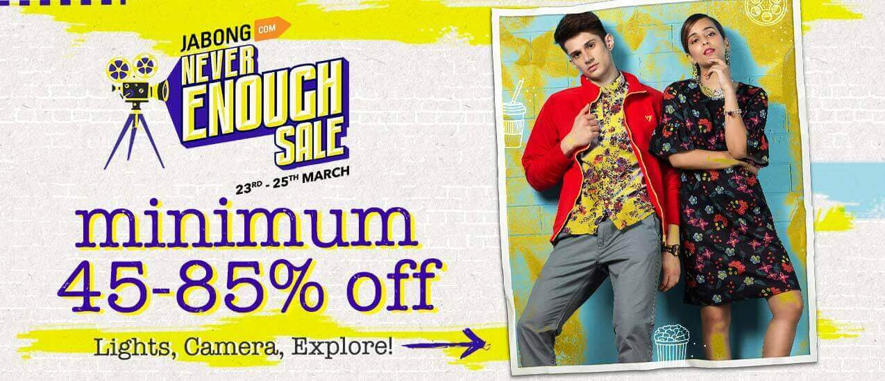 Jabong Never Enough Sale 23rd-25th march Clothes Upto 90% Discount + 15% Cashback via Phonepe