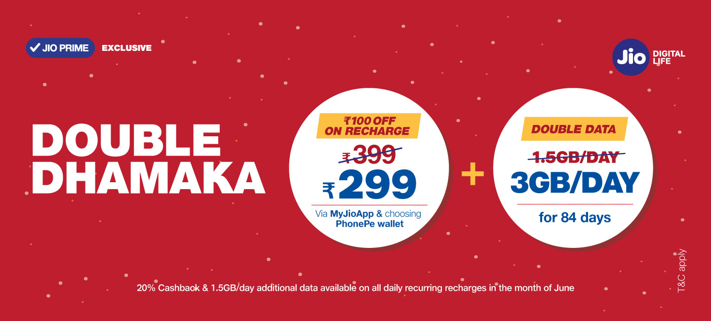 Jio Double Dhamaka Offer Now Get 3gb Data Per Day With On Recharge of Rs.149 or Rs.399 + 20% Cashback With Phonepe