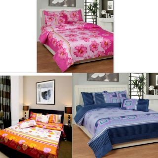 K Decor Set Of 3 Double Bed Sheets With Free 6 Pillow Covers