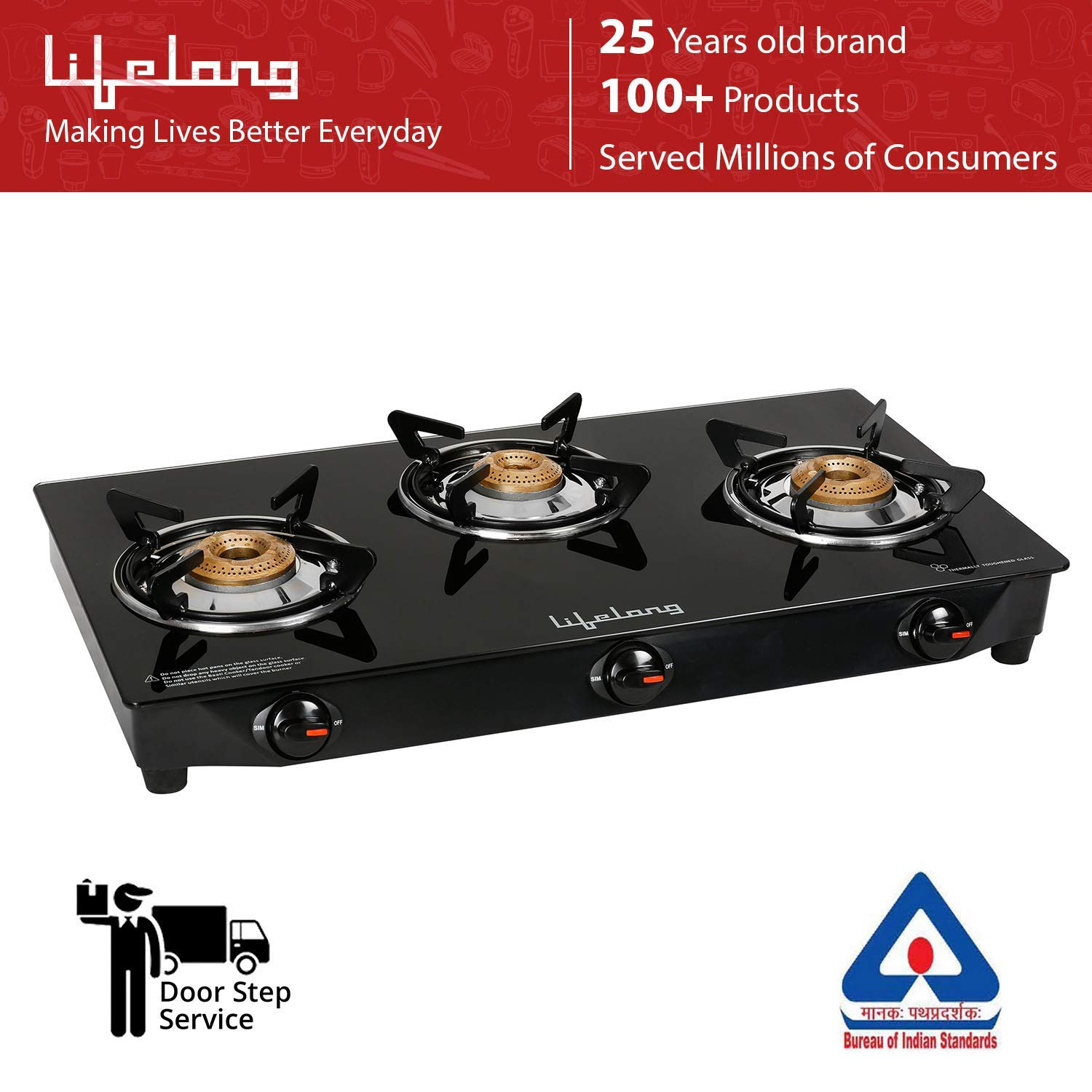 Lifelong Glass Top Gas Stove, 3 Burner Gas Stove, 1 year warranty with Doorstep Service