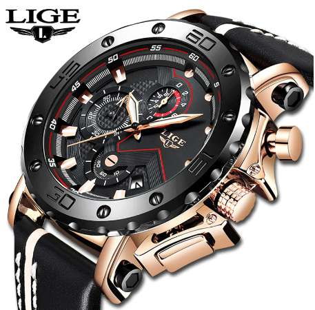 Luxury Big Dial Military Quartz Watch Leather Waterproof Sport Chronograph Watch Men