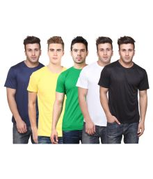 Mens Half Sleeves Plain Round Neck T-shirts (Pack of 5)