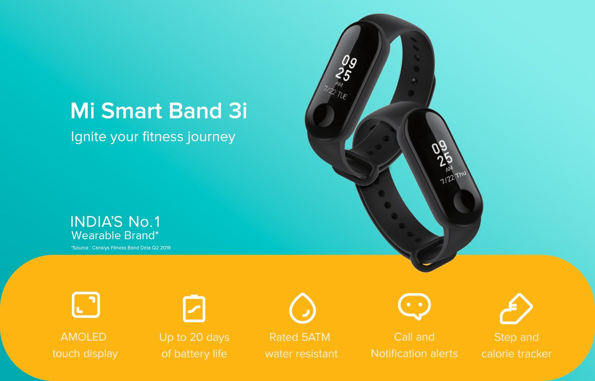 Mi Smart Band 3i With 20 Days Battery Backup Water Proof Calls Rejection Notification Alerts