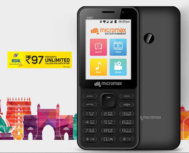 Micromax Bharat 1 - 4G VoLTE Unlimited Calls Only For Rs.97 BSNl