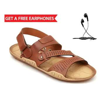 Nexa Men Tan Sandals With Free Earphones