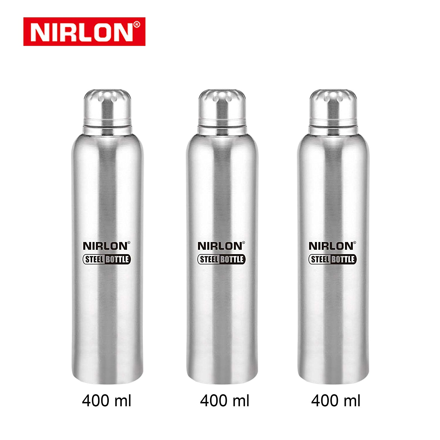 Nirlon Stainless Steel Bottle Set, Set of 3, Silver