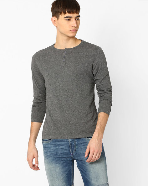 Pack of 2 Cotton Henley T-shirts