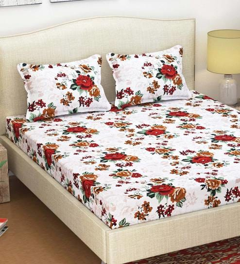 Paradise 105 TC Cotton Queen Size Bed Sheet with 2 Pillow Covers by Azaani