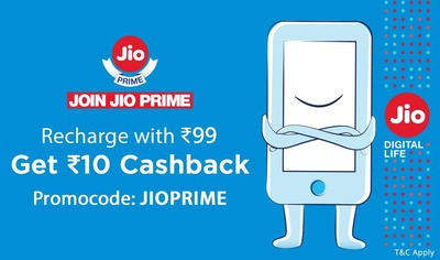 Paytm - Rs.10 cashback on Jio Prime Recharge of Rs.99