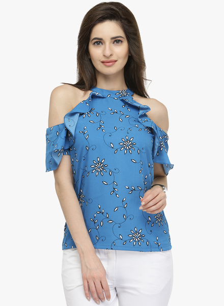 Pluss Blue Printed T-shirt
