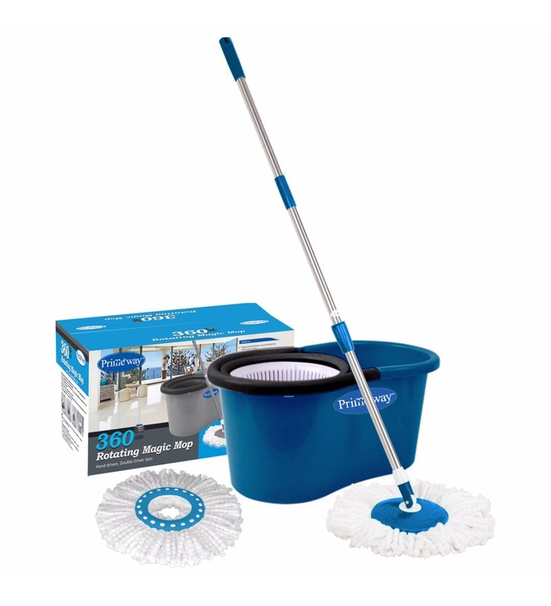 Primeway 360 Degree Rotating Dark Blue 5500 ML Magic Spin Mop Set with 2 Microfibre Mop Heads
