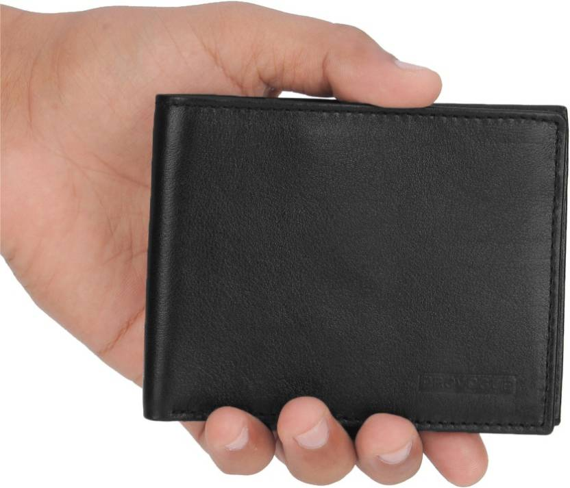 Provogue Men Black Genuine Leather Wallet  (6 Card Slots)