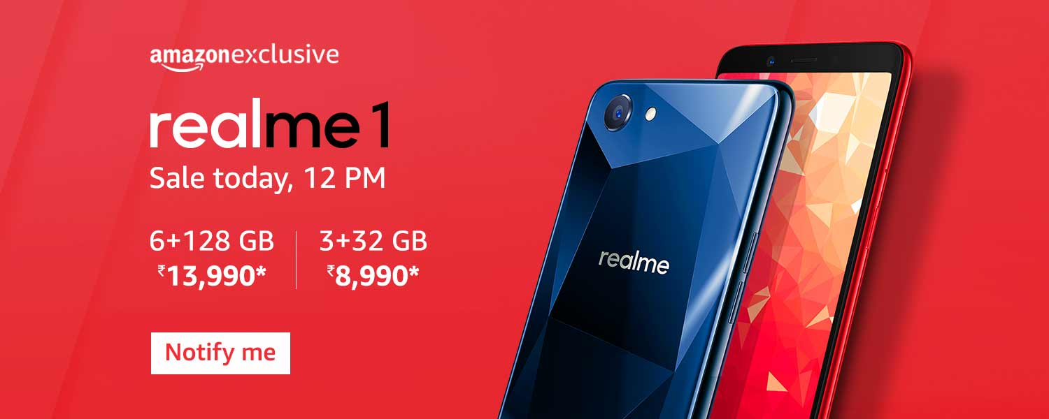 Realme 1 AI processor, 6GB RAM, 128GB storage, 6-inch FHD+ screen, 13MP Camera First Sale Today