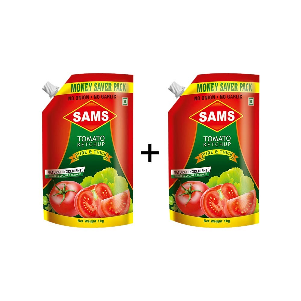 Sams No Onion No Garlic Pure & Thick Tomato Ketchup (Pouch) - Buy 1 Get 1 Free