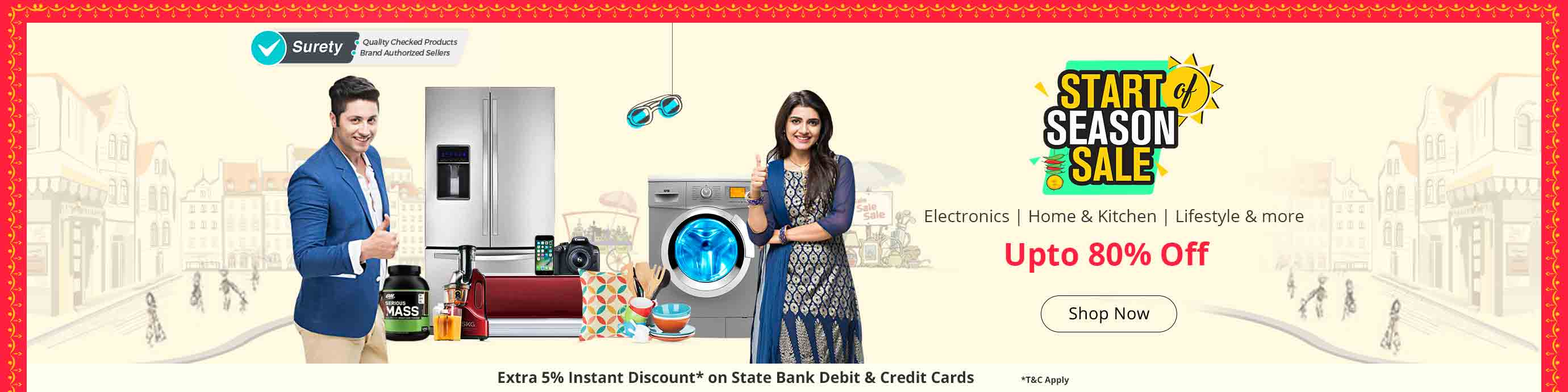 Shopclues - Start Season Sale Upto 80% Discount + Wallet Cashback