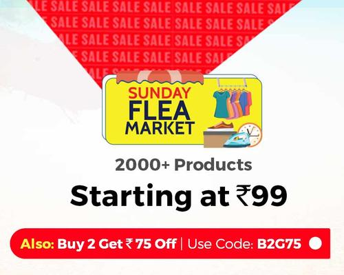 Shopclues - Sunday Flea Market Products Up to 80% Discount + Extra Rs.75 Discount