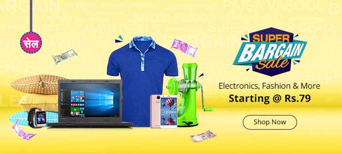 Shopclues - Super Bargain Sale Upto 70% Discount + Extra 5% Discount With SBI