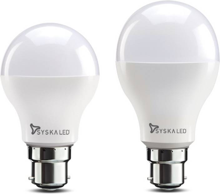 Syska 12 W, 9 W Round B22 Pack of 2 LED Bulb