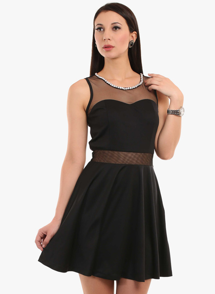 Texco Black Solid Skater Dress