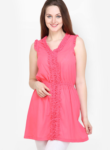 Tops And Tunics Pink Solid Fit And Flare Tunic