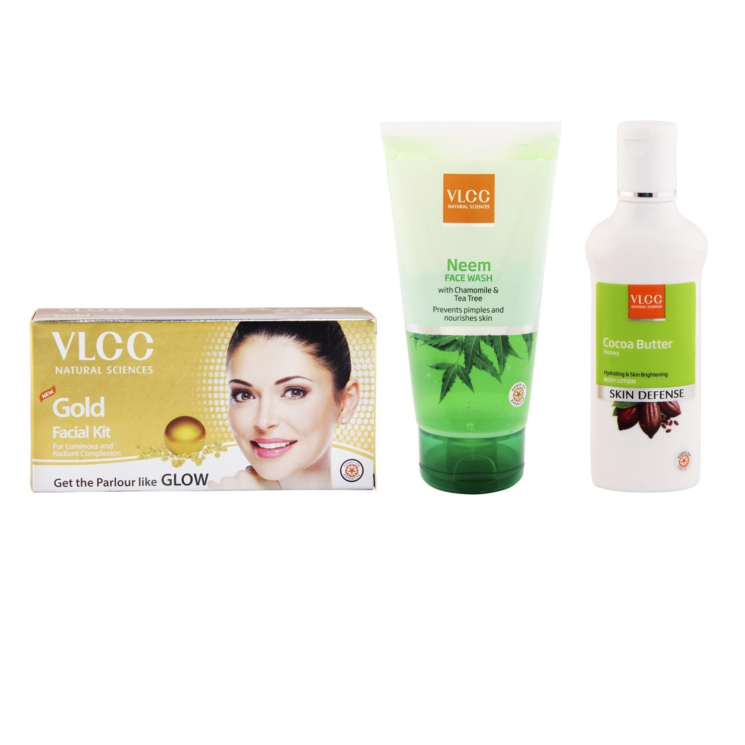 VLCC Gold Single Facial Kit, 60g and Cocoa Butter Body Lotion, 100ml and Neem Facewash, 150ml