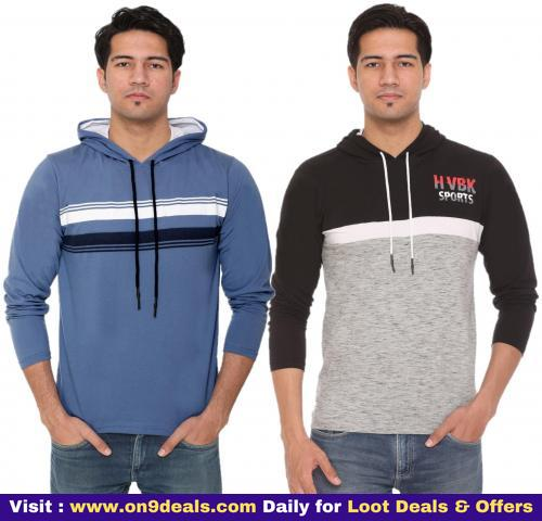 HVBK Men Multi Regular fit Cotton Blend Hood T-Shirt - Pack Of 2