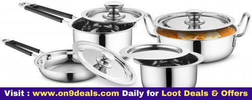 Profusion Stainless Steel Cookware 8 Pcs Set With Stainless Steel Lid
