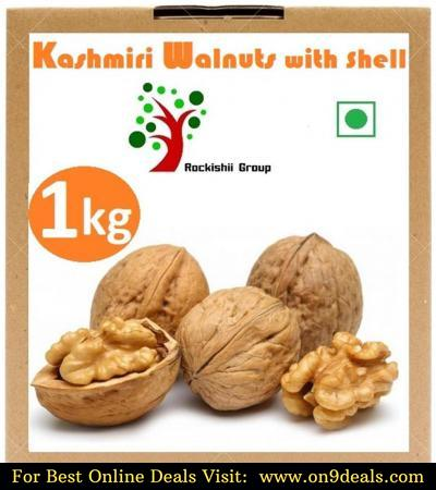 Rockishii Kashmiri Organic Walnuts with shell 1000 gm + Free Shipping